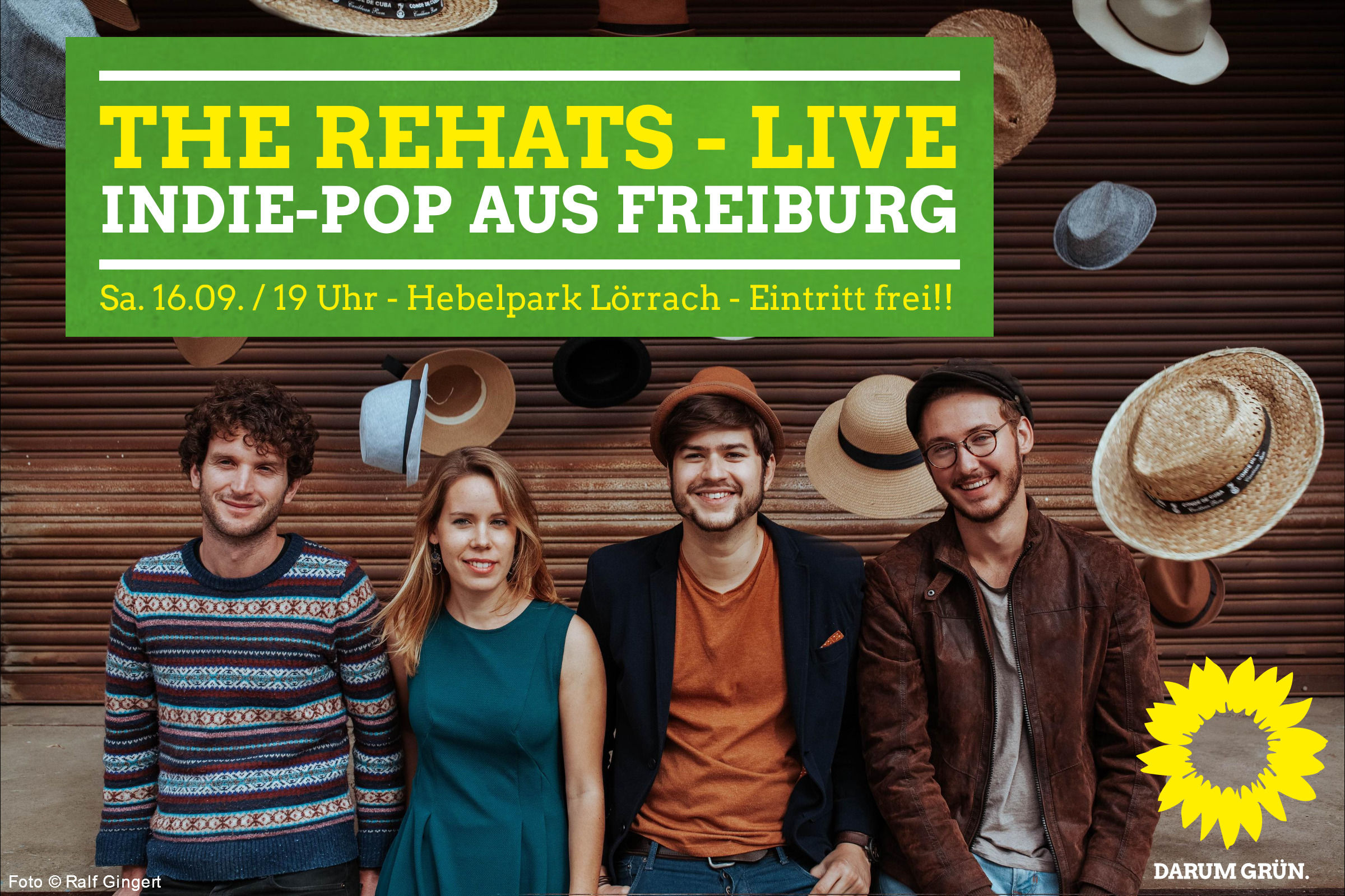 The Rehats – live / Indie-Pop aus Freiburg mit Minister Winne Hermann